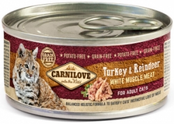 Carnilove White konzerva Mus Meat Turkey & Reindeer Cats100g