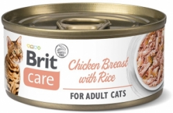 Brit Care Cat konzerva pro kočky Fillets Breast Rice 70g