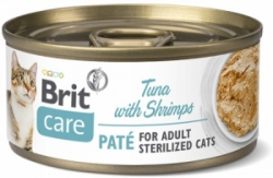 Brit Care Cat konzerva pro kočky Paté Sterilized Tuna Shrimps 70g
