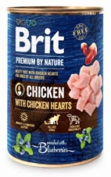 Brit Premium Dog by Nature konzerva Chicken & Hearts 400g