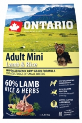 Ontario Adult Mini Lamb&Rice 2,25kg