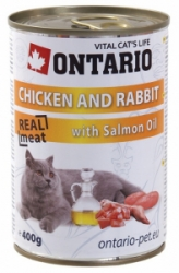 Ontario konzerva kočka Chicken, Rabbit, Salmon Oil 400g