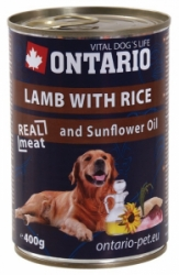 Ontario konzerva pes Lamb, Rice, Sunflower Oil 400g