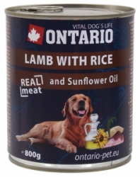 Ontario konzerva pes Lamb, Rice, Sunflower Oil 800g