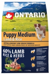 Ontario Puppy Medium Lamb&Rice 2,25kg