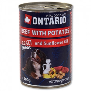 Ontario konzerva pes Beef with Potatos+Sunflower Oil 400g