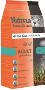 Nativia Cat Adult Salmon & Rice Active 10kg
