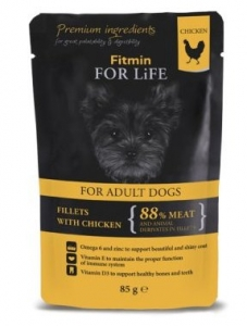 Fitmin Dog For Life kapsička Adult Chicken with Ham in Jelly 85 g
