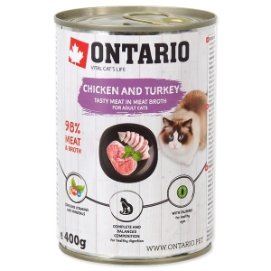 Ontario konzerva kočka Chicken, Turkey, Salmon Oil 400g
