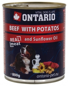 Ontario konzerva pes Beef, Potatos, Sunflower Oil 800g