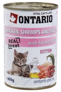 Ontario konzerva Kitten Chicken, Shrimp, Rice, Salmon Oil 400g