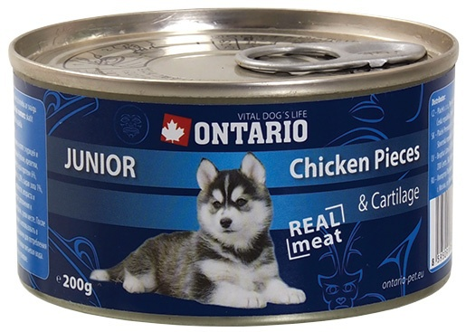 Ontario konzerva junior Chicken Pieces+Cartilage 200g